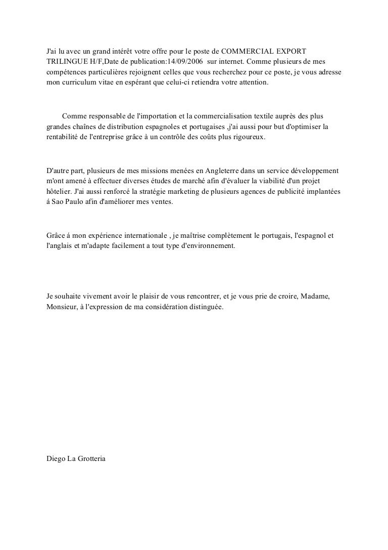 lettre de motivation commercial export trilingue