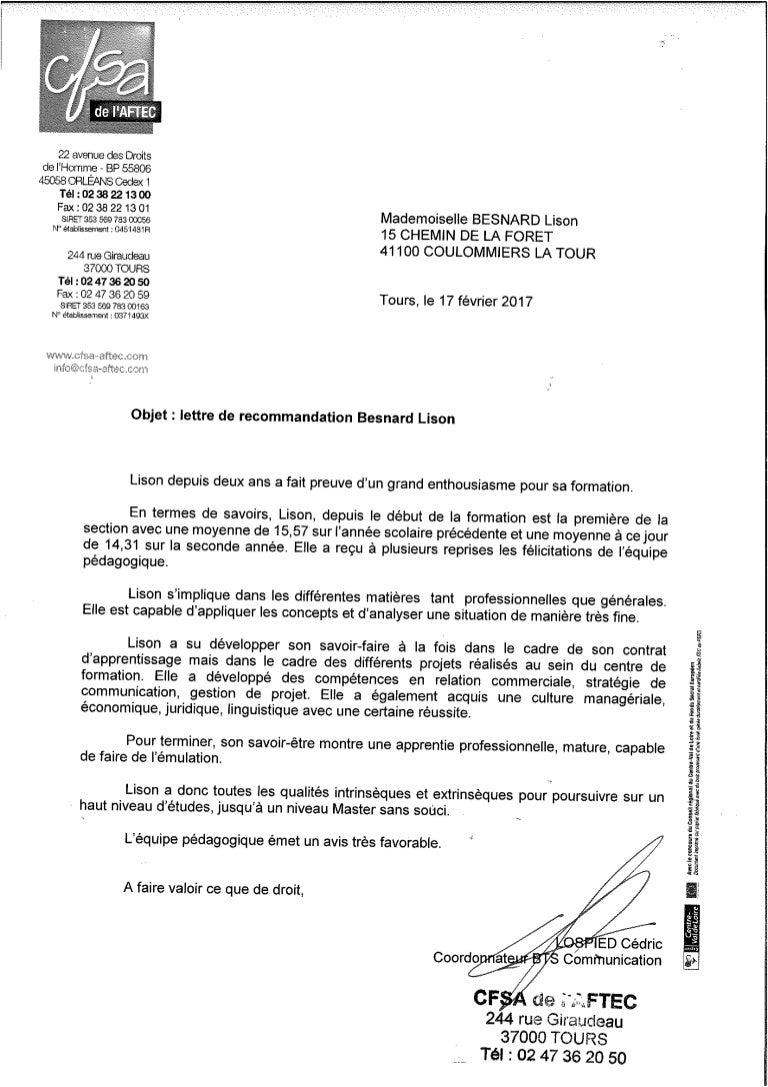lettre de recommandation cfsa aftec