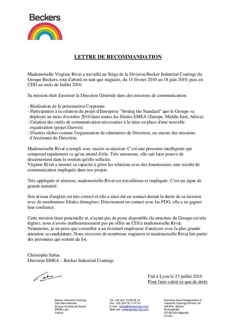 Pdf Lettre De Recommandation Employeur Pour Master