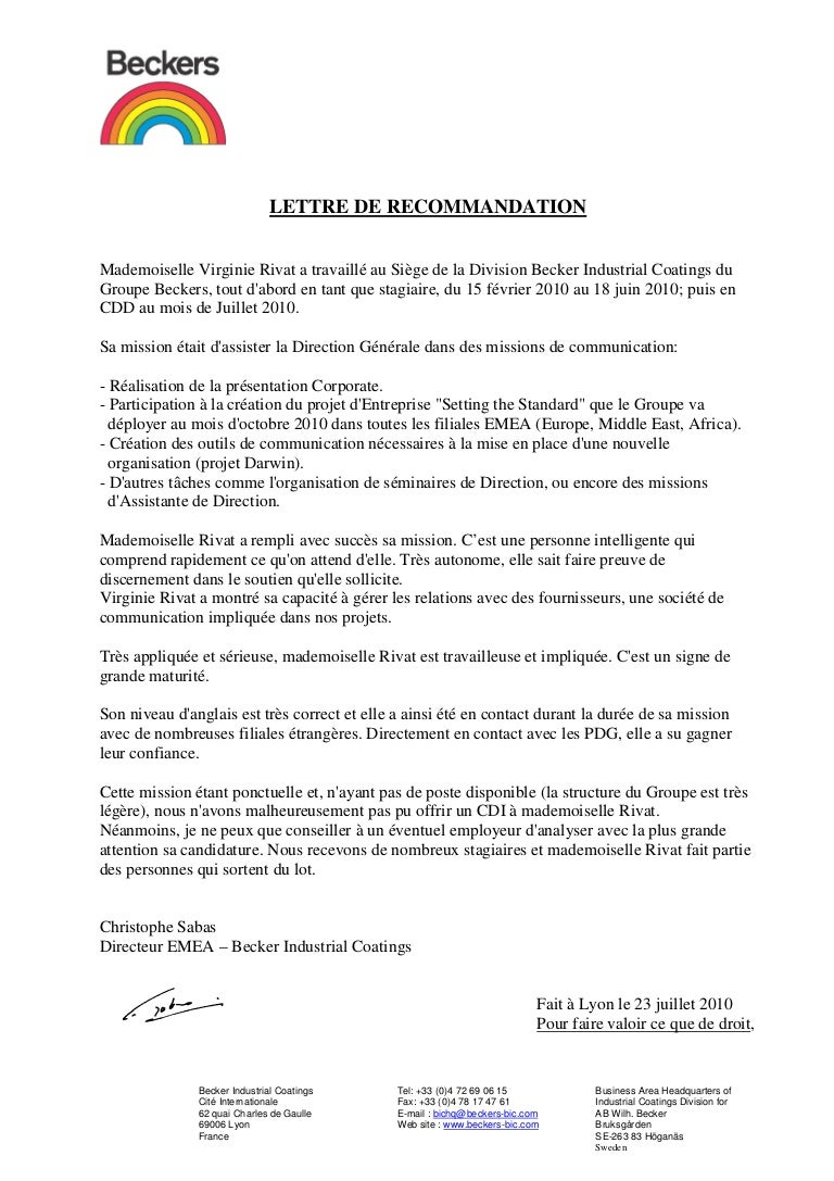 Lettre De Recommandation Becker Industrial Coatings