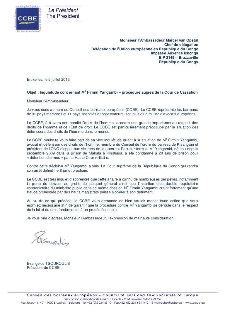 Congo Le Ccbe Exige Un Proces Equitable Pour Me Firmin Yangambi