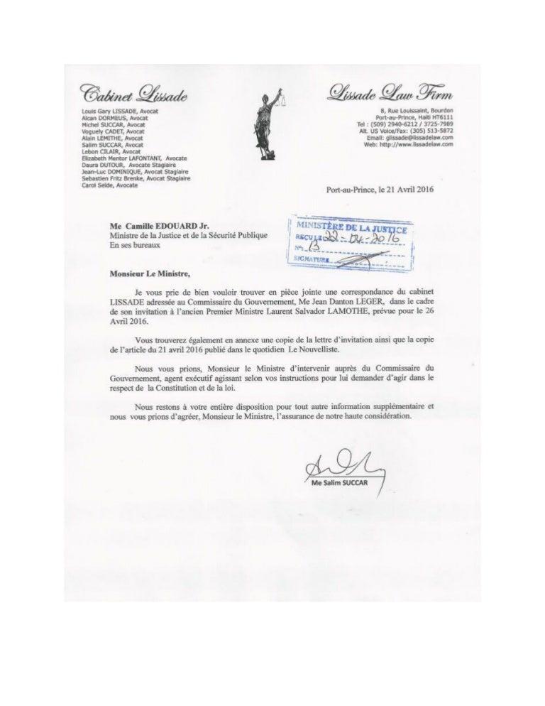 Lettre du cabinet lissade au ministre de la justice edouard