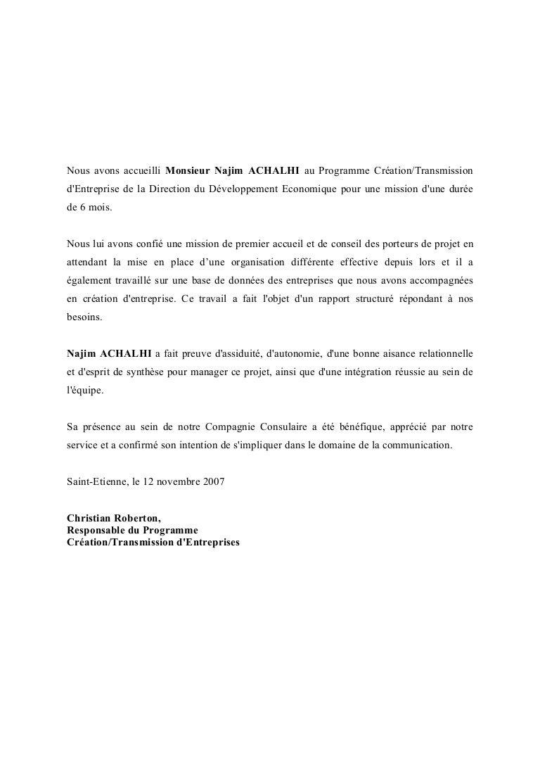 Lettre de recommandation CCI St Etienne