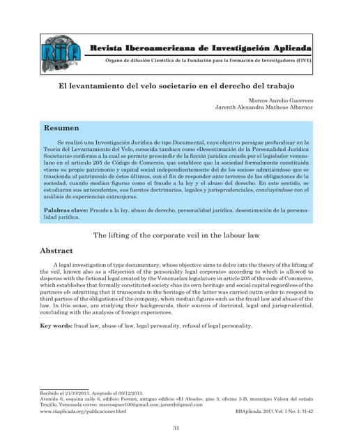 Levantamiento del velo societario en el derecho del trabajo ria aplicada