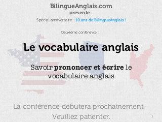 Le vocabulaire anglais (conférence de septembre 2016)