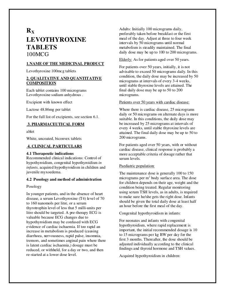 Levothyroxine 100mcg Tablets Smpc Taj Pharmaceuticals