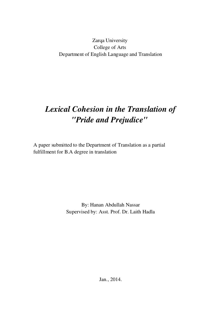 lexical cohesion in the translation of pride and prejudice by hanan n