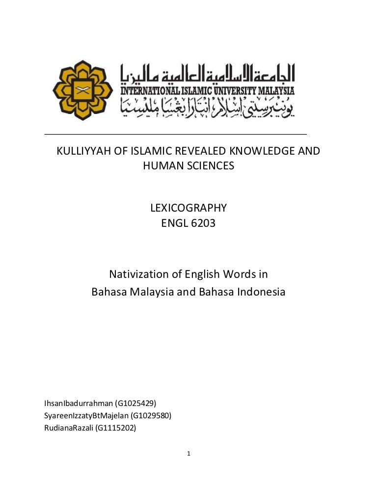 Nativization Of English Words In Bahasa Malaysia And Bahasa Indonesia
