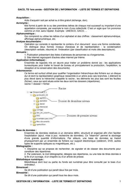Lexique Gestion de l'information GACO 1
