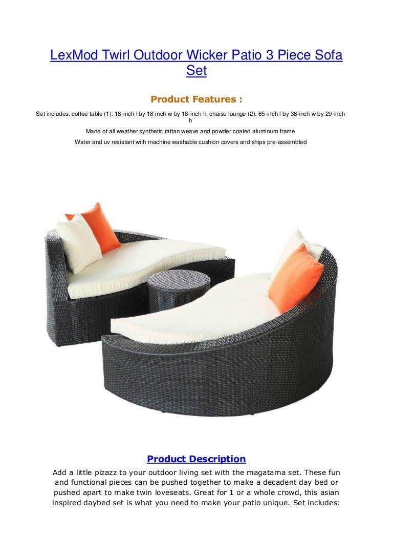 Lex Mod Twirl Outdoor Wicker Patio 3 Piece Sofa Set