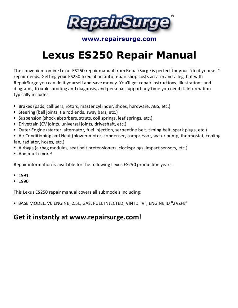 lexus es250 repair manual 1990 1991 rh slideshare net 1991 lexus ls400 repair manual free download 1991 lexus ls400 repair manual pdf