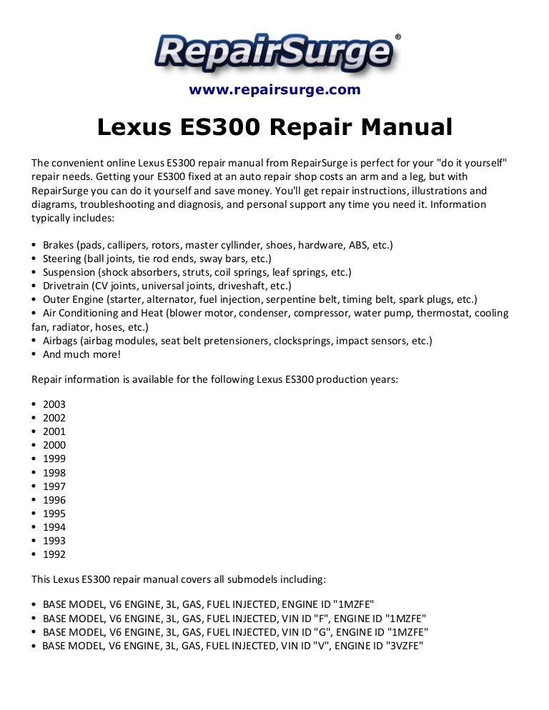 1999 lexus es300 engine diagram lexus es300 repair manual 1992 2003  lexus es300 repair manual 1992 2003