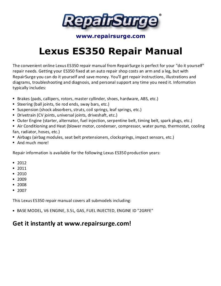 [ZSVE_7041]  Lexus es350 repair manual 2007 2012 | Lexus Es 350 3 5l Engine Diagram |  | SlideShare