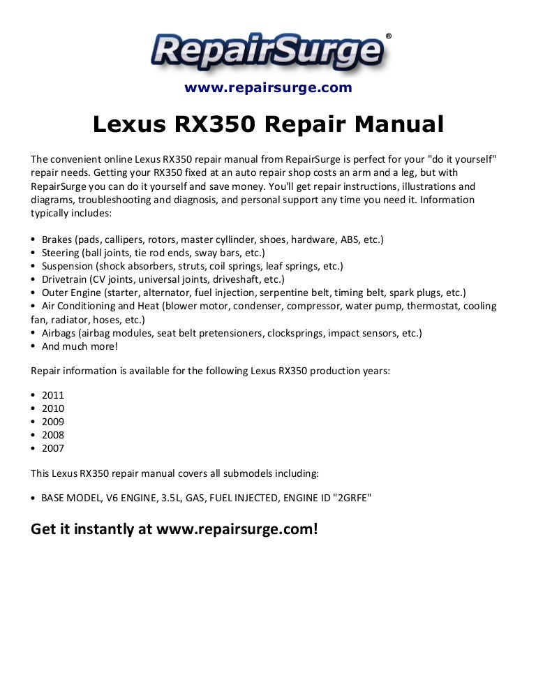 lexus rx350 repair manual 2007 2011 rh slideshare net 2008 RX 350 2013 RX 350
