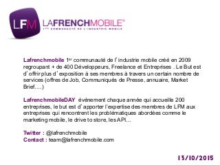 Meetup lafrenchmobile : Réalité Augmentée et Virtuelle - Disrupting Mobile By 2020