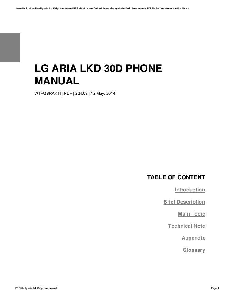 Lg aria lkd 30d phone manual