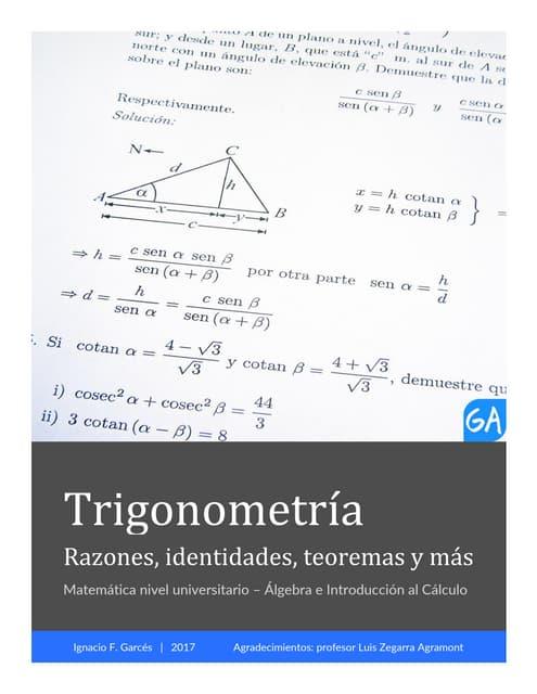 Trigonometría: Fórmulas (Identidades, Teoremas, Razones y más)
