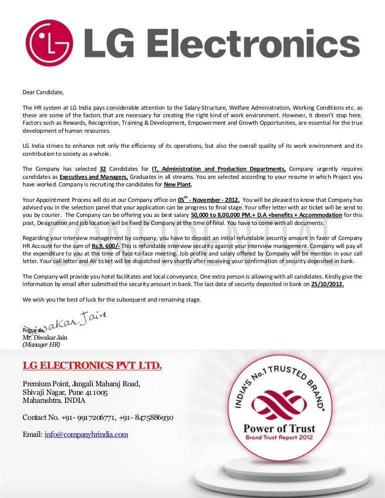 Company offer letter format juvecenitdelacabrera fake lg electronics pvt ltd india offer letter spiritdancerdesigns Images