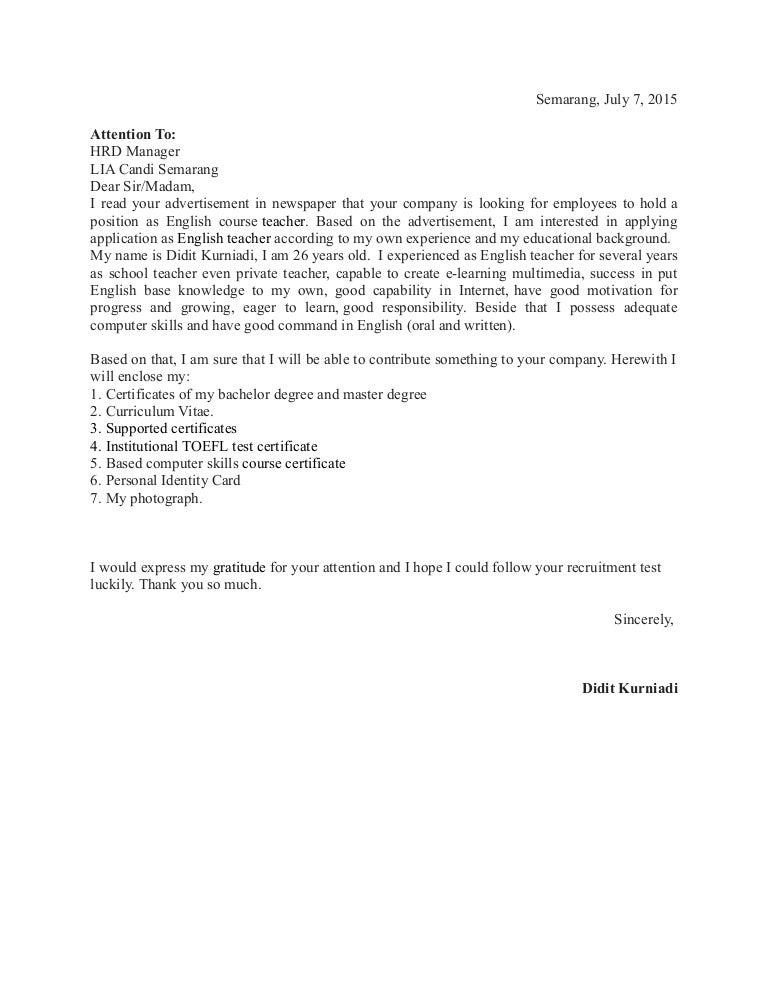 Contoh Surat Lamaran Pekerjaan Guru Guru Bimbel Tentor Kursus Dalam