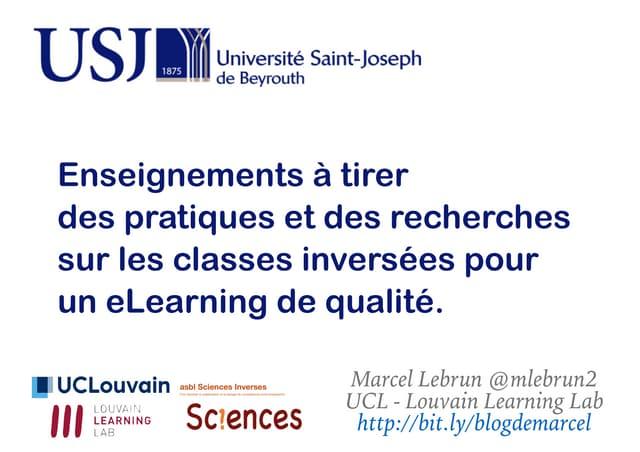 Enseignements à tirer  des pratiques et des recherches sur les classes inversées pour un eLearning de qualité