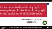 Libraries activity and copyright exemptions