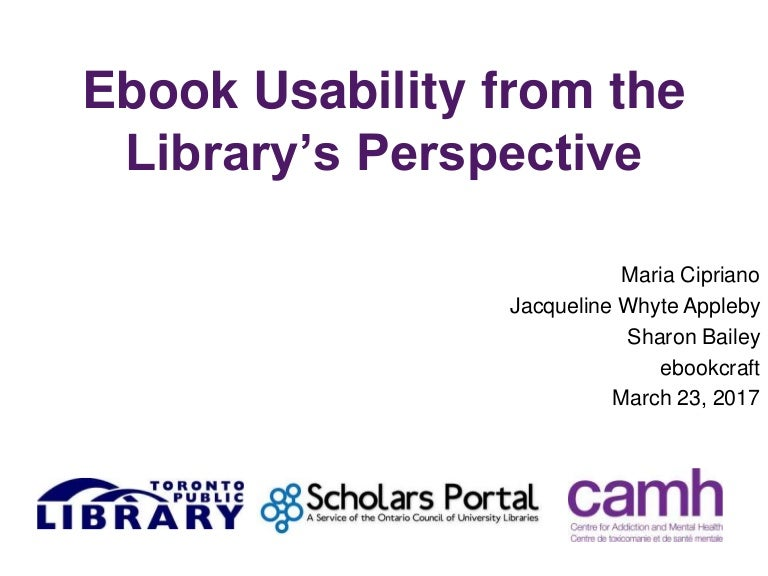 Ebook usability from the librarys perspective sharon bailey maria fandeluxe Images