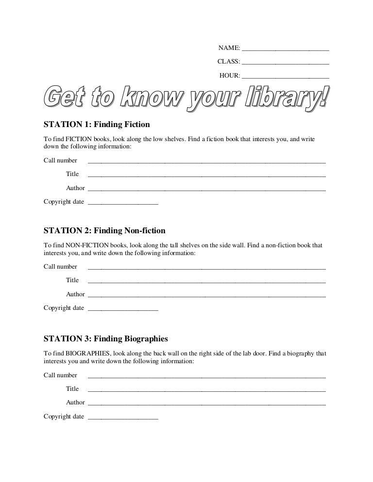 Library Stations Worksheet – Worksheet Library