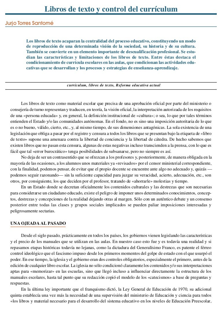 Libros de texto y control del currículum\