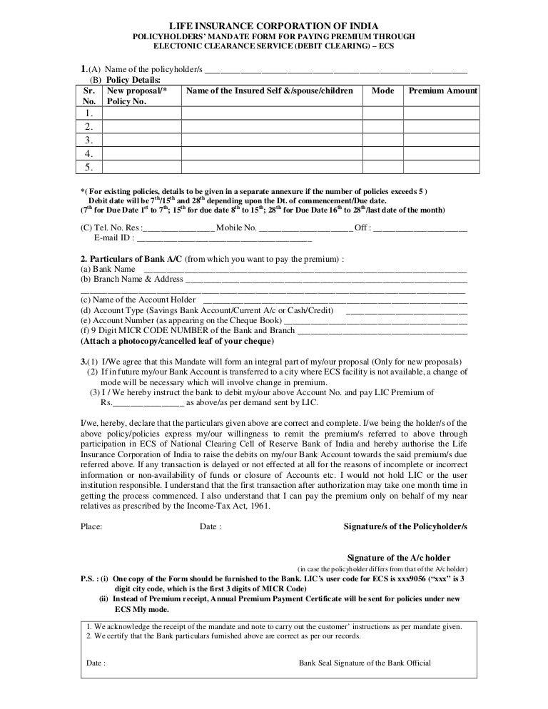 Lic EcsMandate Form