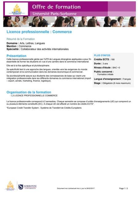 """Licence professionnelle """"collaborateur des activités internationales"""" - Sorbonne Univeristy Paris IV. - CFA Montsouris"""