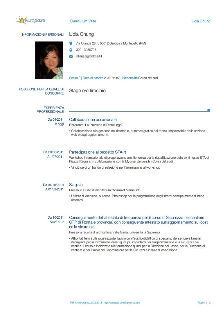 Lidia Chung Curriculum Vitae