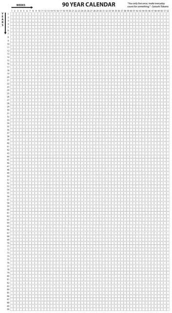 90 Year Life Calendar Satoshi Takano