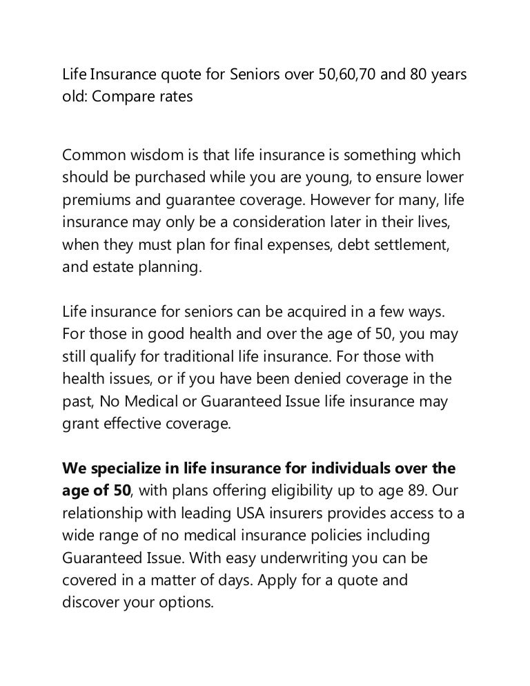 Compare Life Insurance Quotes For Seniors Over 50 60 70 And 80 Year .