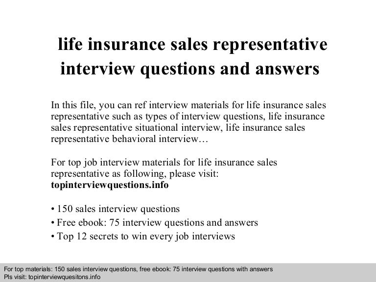 Life insurance sales representative interview questions and answers