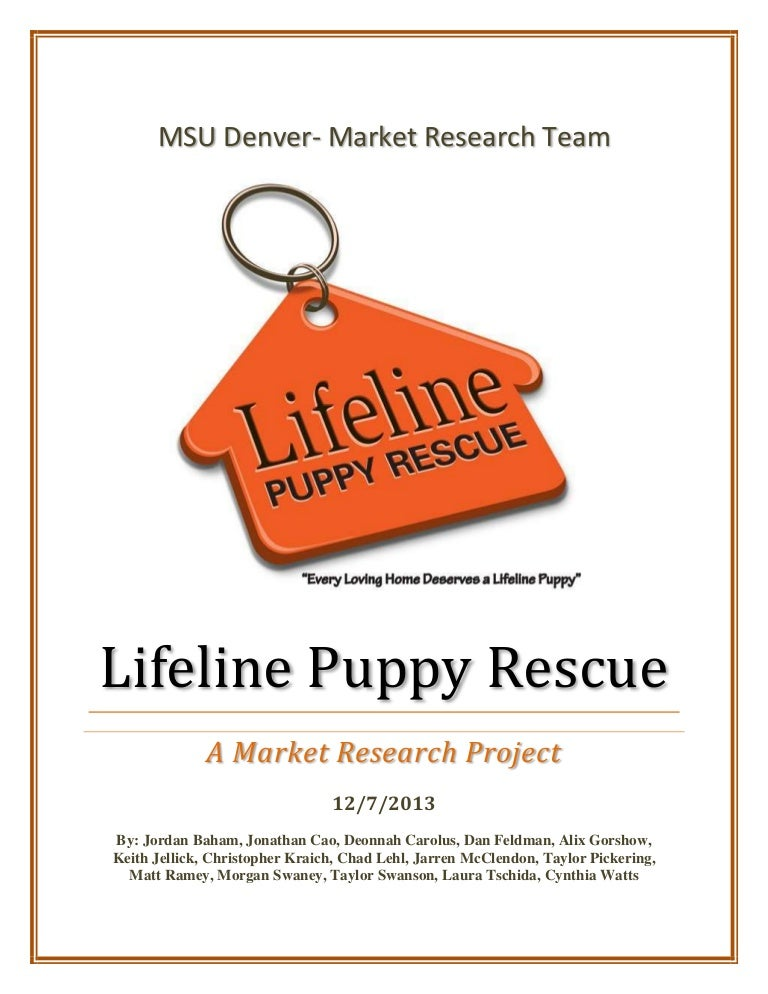 Lifeline Puppy Rescue Research Report