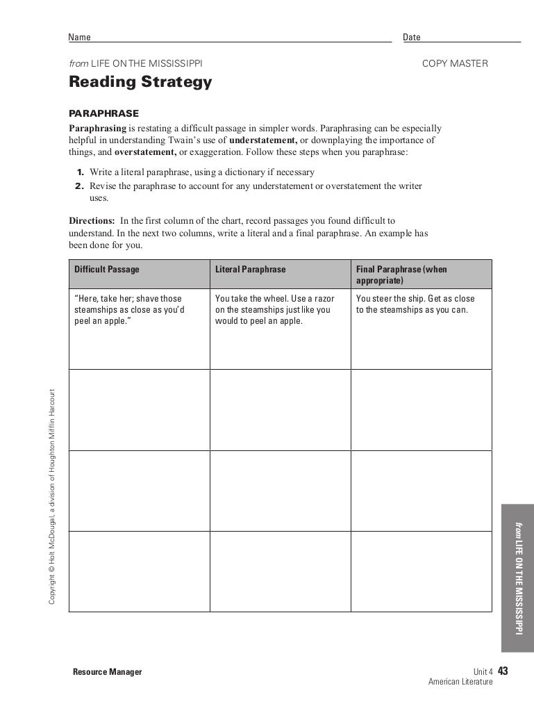Worksheets Paraphrase Worksheet life on the mississipp paraphrasing worksheet