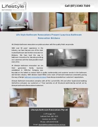 Life Style Bathroom Renovations Present Luxurious Bathroom Renovation Brisbane