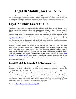 Liga178 mobile joker123 apk