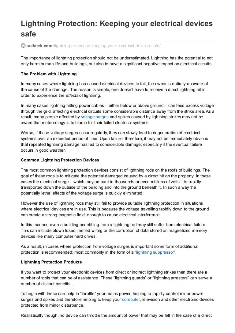 Lightning protection keeping your electrical devices safe