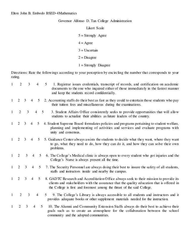 Likert Scale (Sample Of Likert Scale Rating The Behaviors Of College'…