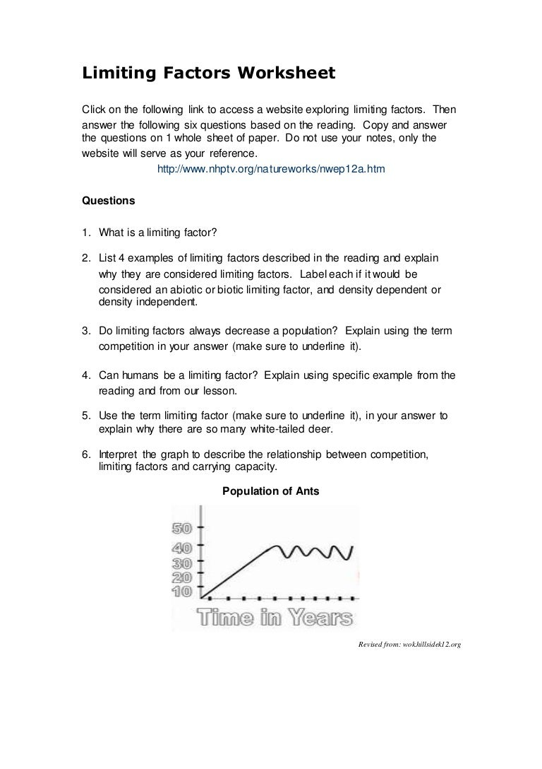 worksheet Factor Label Worksheet limiting factors worksheet