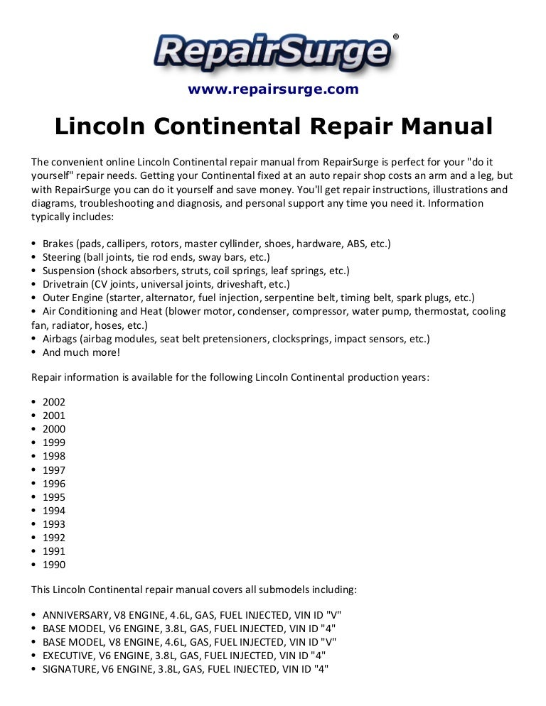 lincoln continental repair manual 1990 2002 rh slideshare net 2008 Lincoln Continental 1997 lincoln continental service manual
