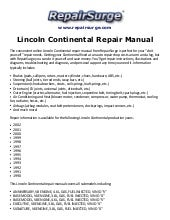 Lincoln Continental Repair Manual 1990 2002