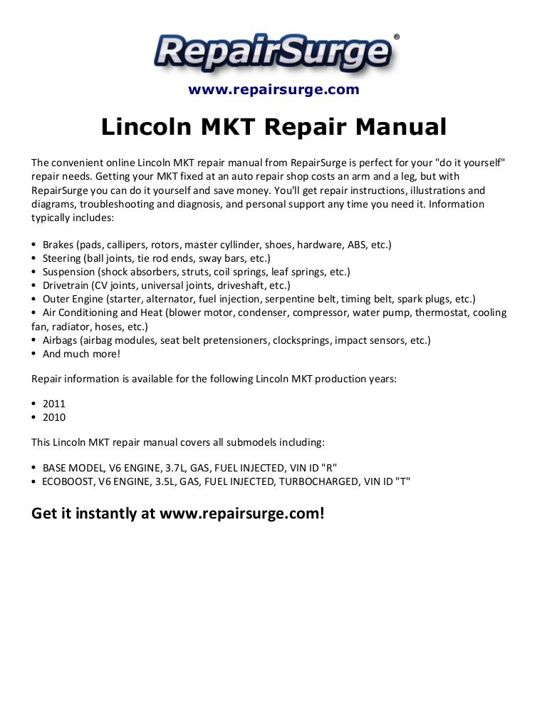 lincoln mkt repair manual 2010-2011  slideshare