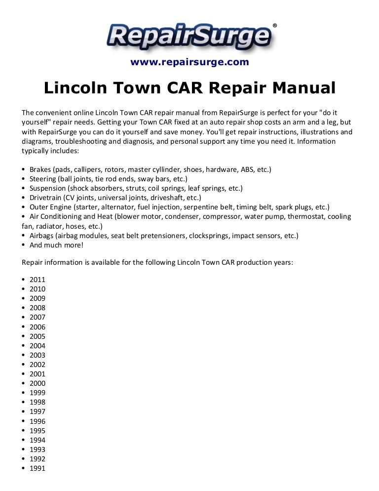 lincoln town car repair manual
