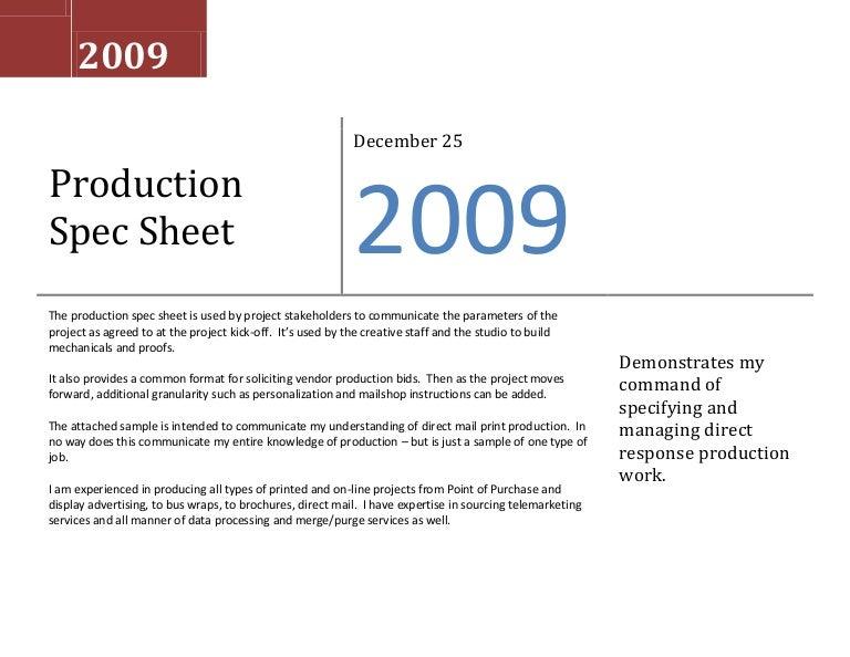 Sample Production Spec Sheet