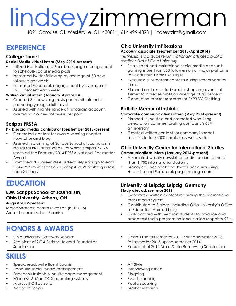 lindsey zimmerman resume 2014