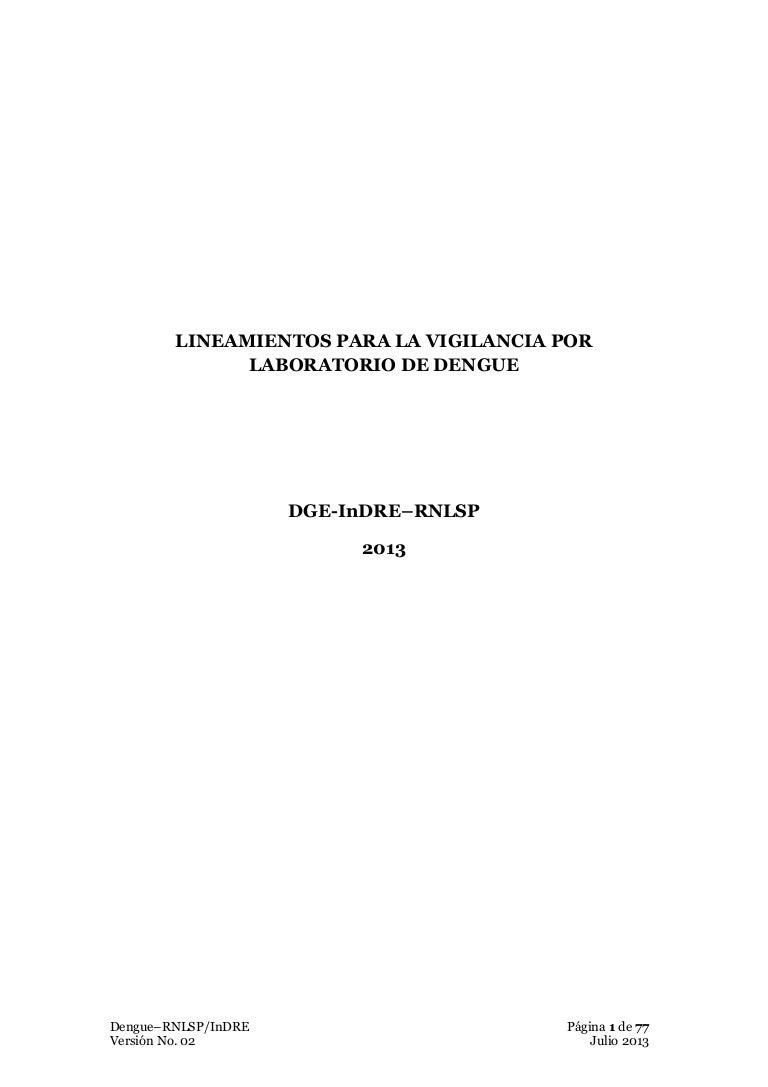 Lineamientos 2013 vigilancia LABORATORIO DENGUE