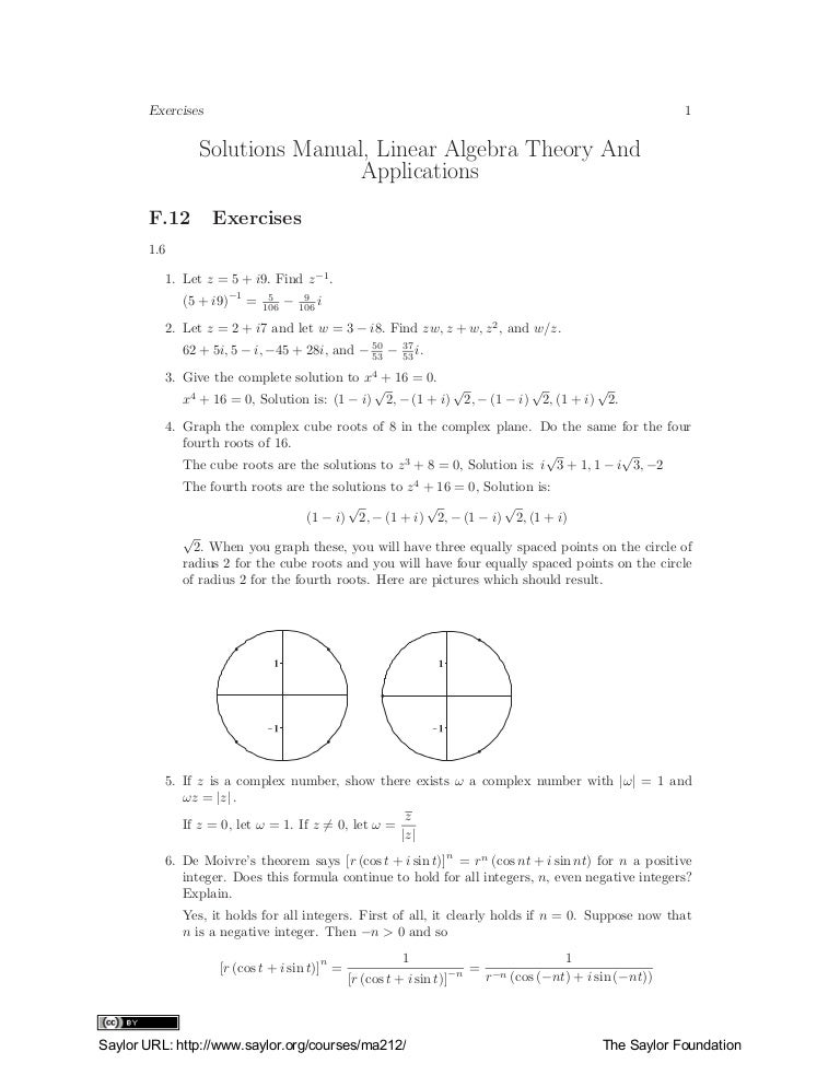 linear algebra solutions manual kuttler 1 30 11 otc rh slideshare net Applying a Solution abstract algebra theory and applications judson solutions manual pdf