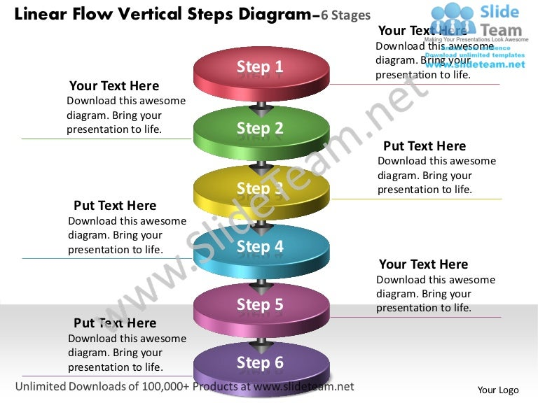 Linear Flow Vertical Steps Diagram 6 Stages Process Charts Examples P